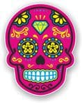 Mexican Day of The Dead Sugar Skull Multi-Coloured Design With Pink Motif Vinyl Car Sticker 120x92mm