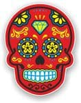 Mexican Day of The Dead Sugar Skull Multi-Coloured Design With Red Motif Vinyl Car Sticker 120x92mm