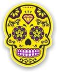 Mexican Day of The Dead Sugar Skull Multi-Coloured Design - Yellow Motif Vinyl Car Sticker 120x92mm