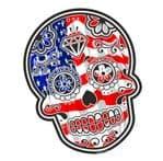 Mexican Day Of The Dead SUGAR SKULL With American Stars & Stripes Flag Motif External Vinyl Car Sticker 120x90mm
