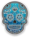 Mexican Day of The Dead Sugar Skull With Blue Glitter Sparkle Effect Vinyl Car Sticker 120x92mm