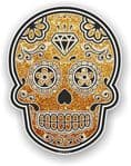 Mexican Day of The Dead Sugar Skull With Gold Glitter Sparkle Effect Vinyl Car Sticker 120x92mm