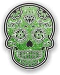 Mexican Day of The Dead Sugar Skull With Green Glitter Sparkle Effect Vinyl Car Sticker 120x92mm