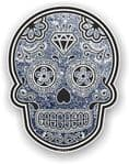 Mexican Day of The Dead Sugar Skull With Grey Glitter Sparkle Effect Vinyl Car Sticker 120x92mm