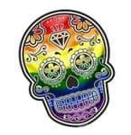 Mexican Day Of The Dead SUGAR SKULL With LGBT Gay Pride Rainbow Flag Motif External Vinyl Car Sticker 120x90mm