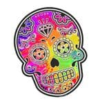 Mexican Day Of The Dead SUGAR SKULL With Multi Coloured Paint Splats Motif External Vinyl Car Sticker 120x90mm