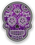 Mexican Day of The Dead Sugar Skull With Purple Glitter Sparkle Effect Vinyl Car Sticker 120x92mm