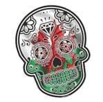 Mexican Day Of The Dead SUGAR SKULL With Wales Welsh CYMRU Flag Motif External Vinyl Car Sticker 120x90mm