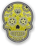 Mexican Day of The Dead Sugar Skull With Yellow Glitter Sparkle Effect Vinyl Car Sticker 120x92mm
