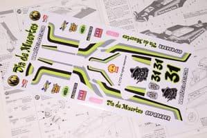 Mexican Sugar Skull themed vinyl stickers to fit R/C Tamiya Hornet
