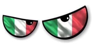 NEW Pair Of Cartoon Evil Eyes Design with Italian Flag For Motorbike Helmet Car Sticker 125x50mm