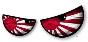 NEW Pair Of Cartoon Evil Eyes Design with JDM R/Sun Flag For Motorbike Helmet Car Sticker 125x50mm