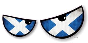 NEW Pair Of Cartoon Evil Eyes Design with Scottish Flag For Motorbike Helmet Car Sticker 125x50mm