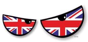 NEW Pair Of Cartoon Evil Eyes Design with UK British Flag For Motorbike Helmet Car Sticker 125x50mm