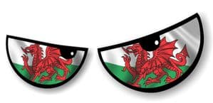 NEW Pair Of Cartoon Evil Eyes Design with Welsh Flag Motif For Motorbike Helmet Car Sticker 125x50mm