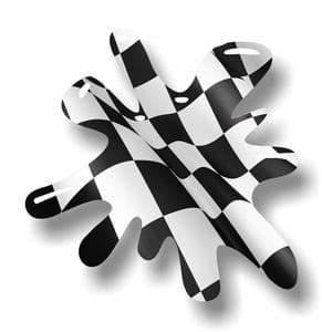 New SPLAT Design With Chequered Flag Motif External Vinyl Car Sticker 110x110mm