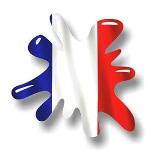 New SPLAT Design With France French Flag Motif External Vinyl Car Sticker 110x110mm