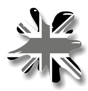 New SPLAT Design With Grunge B&W Union Jack British Flag Motif External Vinyl Car Sticker 110x110mm