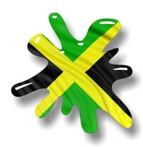New SPLAT Design With Jamaica Jamaican Flag Motif External Vinyl Car Sticker 110x110mm