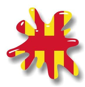 New SPLAT Design With Northumberland County Flag Motif External Vinyl Car Sticker 110x110mm