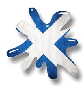 New SPLAT Design With Scotland Scottish Saltire Flag Motif External Vinyl Car Sticker 110x110mm