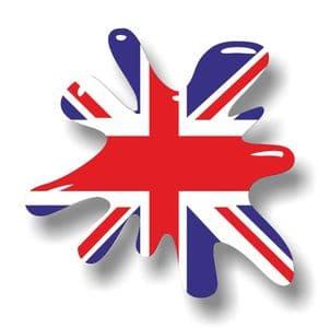 New SPLAT Design With Union Jack British Flag Motif External Vinyl Car Sticker 110x110mm