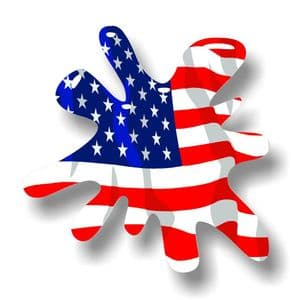 New SPLAT Design With USA American Flag Motif External Vinyl Car Sticker 110x110mm
