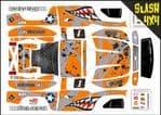 ORANGE Sharks Teeth themed vinyl SKIN Kit To Fit Traxxas Slash 4x4 Short Course Truck