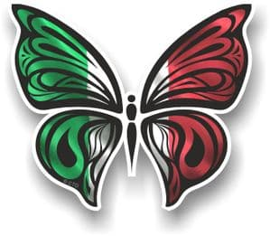 Ornate Butterfly Wings Design With Italy Italian Flag Motif Vinyl Car Sticker 100x85mm