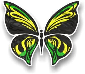 Ornate Butterfly Wings Design With Jamaica Jamaican Flag Motif Vinyl Car Sticker 100x85mm