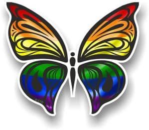 Ornate Butterfly Wings Design With LGBT Gay Pride Rainbow Flag Motif Vinyl Car Sticker 100x85mm