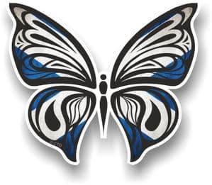 Ornate Butterfly Wings Design With Scotland Scottish Saltire Flag Motif Vinyl Car Sticker 100x85mm