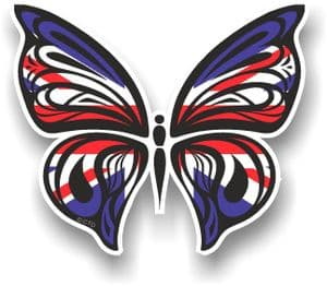 Ornate Butterfly Wings Design With Union Jack British Flag Motif Vinyl Car Sticker 100x85mm