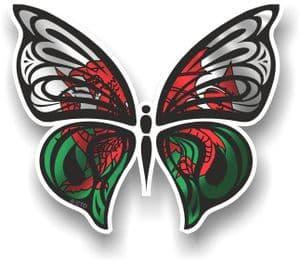 Ornate Butterfly Wings Design With Wales Welsh CYMRU Flag Motif Vinyl Car Sticker 100x85mm