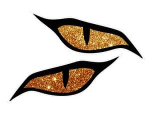 Pair Of  Evil Eye Eyes Design & Gold Glitter Effect Motorbike Biker Helmet Car Sticker each 70x30mm