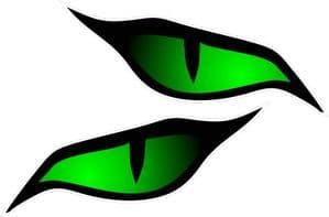Pair Of  Evil Eye Eyes Design In Green For Motorbike Biker Helmet Car Sticker each 70x30mm