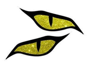 Pair Of  Evil Eye Eyes Design & Yellow Glitter Effect Motorbike Biker Helmet Sticker each 70x30mm