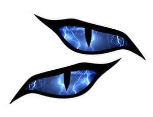 Pair Of  Evil Eye Eyes With Lightning Bolts For Motorbike Biker Helmet Car Sticker each 70x30mm