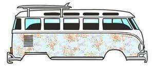 Pale Blue Floral Shabby Chic Design for Retro VW Split Screen Camper Van Bus Graphic External Vinyl Car Sticker 120x50mm