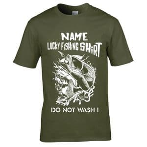 Personalised ( Choose any Name ) Funny Lucky Fishing Shirt Do Not Wash Fisherman Angling T-shirt