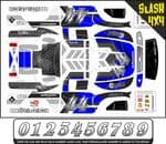 Personalised Race Car themed vinyl SKIN Kit To Fit R/C Traxxas Slash 4x4 Short Course Truck