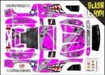 PINK Sharks Teeth themed vinyl SKIN Kit To Fit Traxxas Slash 4x4 Short Course Truck