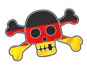 Pirate Style SKULL & CROSSBONES With Germany German Flag Motif External Vinyl Car Sticker 128x84mm
