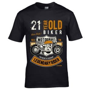 Premium 21 Year Old Biker Legendary Rider Cafe Racer Style Motif For 21st Birthday gift T-shirt Top