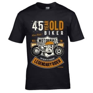 Premium 45 Year Old Biker Legendary Rider Cafe Racer Style Motif For 45th Birthday gift T-shirt Top