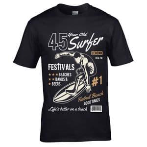 Premium 45 Year Old Surfer Beach Surfboard Motif For 45th Birthday gift men's Black t-shirt top