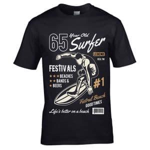 Premium 65 Year Old Surfer Beach Surfboard Motif For 65th Birthday gift men's Black t-shirt top