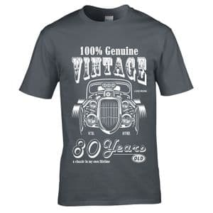 Premium 80 Year Old Legend In My Own Time Genuine Vintage Hot Rod Car 80th Birthday Gift T-shirt Top