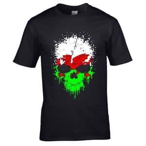 Premium Dripping Skull CYMRU Wales Welsh Flag Novelty Halloween Design Black t-shirt tshirt top