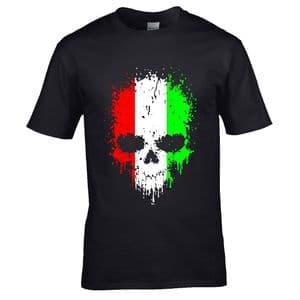 Premium Dripping Skull Italy Italian Flag Novelty Halloween Design Black t-shirt tshirt top